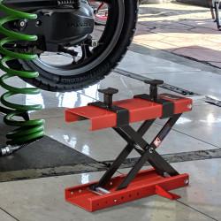 DURHAND Plataforma Elevadora para Motocicletas com Altura Ajustável de 19-53cm Carga Máxima 500kg para Estacionar ou Reparar Oficina Garagem Preto e Vermelho