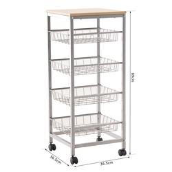 HomCom® Carrinhos de cozinha com rodas 5 níveis de carga 20kg 36.5x36.5x89cm