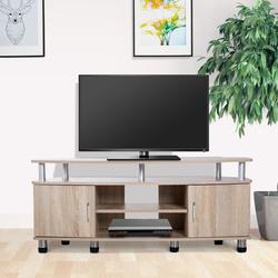 HomCom® Mesa Suporte de TV Móvel de Jantar Sala Moderno Armário 2 Portas 2 Estantes 120x39.5x52cm Madeira Cor Carvalho