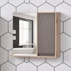 HOMCOM Armário de banheiro com espelho montado na parede com 1 porta e prateleira ajustável Estilo moderno 57x14,2x49,2 cm Carvalho e cinza