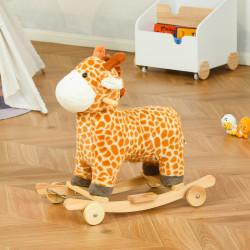 HOMCOM Baloiço Infantil em Forma de Girafa para Crianças acima de 3 Anos Baloiço 2 em 1 com Rodas e Sons 63x38x63cm Multicolor