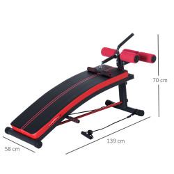 HomCom Banco de Musculação Banco Abdominal Pesos Alongamento de Braços Multifuncional Dobrável para Fitness com 2 Cordas Expansor Aço - 140x73x57cm
