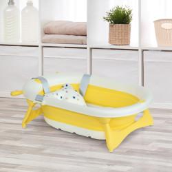 HOMCOM Banheira para Bebé Recém Nascido até 3 Anos Dobrável 30 Litros com Tampa Termossensível e Almofada Confortável Almofadas Antiderrapantes 81,5x50,5x23,5cm Amarelo e Branco