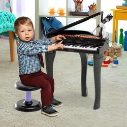 HOMCOM Brinquedo de Piano Mini Teclado de Piano Eletrônico com 37 Teclas Microfone Alto-falante preto