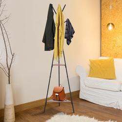 HOMCOM Cabide de metal cabide de roupas em forma de árvore para pendurar roupas 6 ganchos com 2 prateleiras 32.5x45.5x182cm