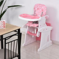 HOMCOM Cadeira para bebês acima de 6 meses 3 posições ajustáveis Acolchoado Rosa