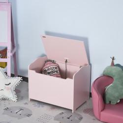 HOMCOM Caixa de armazenamento infatil com tampa tipo baú para crianças acima de 3 anos para livros roupa brinquedos 60x40x48cm Rosa