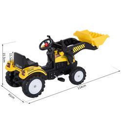 HOMCOM Caminhão Escavadeira Trator Pedal + Pá Frontal para Crianças acima de 3 anos Carga 35kg 114x41x52cm Aço e Plástico