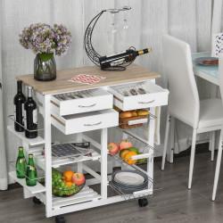 HOMCOM Carrinho de cozinha com prateleiras para temperos, cestas e gavetas para cozinha 92x37x82cm