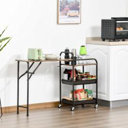 HOMCOM Carrinho de Cozinha com Rodas Carrinho Auxiliar com Prateleiras de 3 Níveis Bancada Dobrável e 2 Porta-Copos para Sala de Jantar 118x36,5x82cm Marrom Rústico