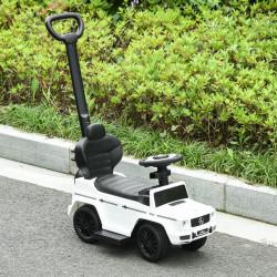 HOMCOM Carro de Passeio Carro Andador para Crianças acima de 12 Meses Mercedes G350 com Buzina Capô Removível Encosto e Suporte de Proteção 85,5x40,5x95cm Branco