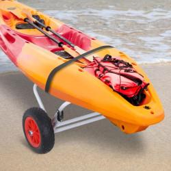 HOMCOM Carro de Transporte Kayak Dobrável Barco Canoa Reboque Carga 60kg com Rodas Porta Canoas Universal Alumínio 60x30x37cm