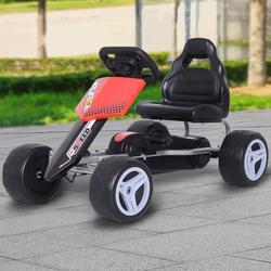 HOMCOM Carro pedal com assento ajustável carga 30 kg Go Kart Racing Sports para crianças 3-8 anos de brinquedo ao ar livre 80x49x50cm aço