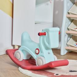 HOMCOM Cavalo Baloiço para Bebés 2 em 1 Carro Andador com Rodas e Efeitos Sonoros e Guiador Brinquedo Infantil para Crianças acima de 1 ano 73x36x43cm Azul e Vermelho