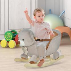 HOMCOM Cavalo de balanço com forma de urso para bebê acima de 18 meses com som 60x33x50