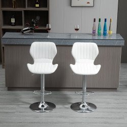HOMCOM Conjunto de 2 Bancos de Bar Bancos Altos de Cozinha Giratório Altura Ajustável 91,5-113,5cm com Apoio para os Pés e Base de Metal Ø41 cm Branco