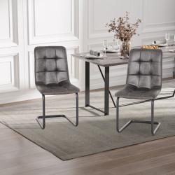 HOMCOM Conjunto de 2 Cadeiras de Sala de Jantar Estofadas em Pelúcia com Assento e Encosto Acolchoados Pés de Metal 57x45x88cm Cinza Escuro