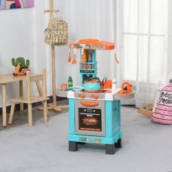 HOMCOM Conjunto de brinquedos de cozinha para crianças acima de 3 anos Luzes e sons educacionais azul
