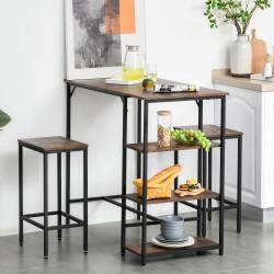 HOMCOM Conjunto de mesa de bar e 2 bancos com apoio para os pés e prateleiras de 3 níveis 109x60x100 cm marrom rústico