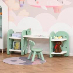 HOMCOM Conjunto de Mesa e Cadeira Infantil 2 em 1 com Prateleira Conjunto de Mesa e Cadeira para Crianças com 4 Prateleiras de Armazenamento para Livros Brinquedo 150x35x62,5cm Verde e Branco