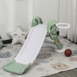 HOMCOM Escorrega infantil para crianças acima de 2 anos com cesta de basquete Interior e exterior carga 25 kg Acessórios incluídos 160x35x68 cm Verde e Branco