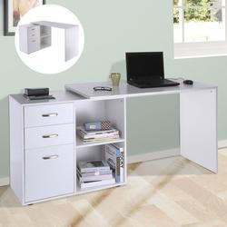 HomCom Escritório Mesa Esquina Oficina 2 Formas com 2 Estantes 3 Gavetas Madeira cor Branca