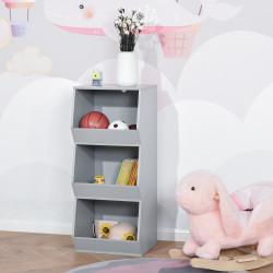 HOMCOM Estante Infantil de Madeira para Crianças com 3 Prateleiras de Armazenamento para Brinquedos Livros 38x34,5x90cm Cinza