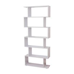HomCom Estante Moderna em forma de S tipo Biblioteca de 6 Prateleiras- Madeira– Cor: Branco- 80 x 25 x 192 cm