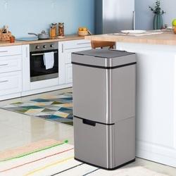 HOMCOM Lixeira automática do sensor da abertura da lata de lixo para o quarto 72L da cozinha de aço inoxidável
