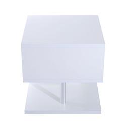 HOMCOM Mesa Auxiliar Madeira Branco 50 x 50 x 50 cm