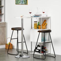 HOMCOM Mesa de bar Mesa de jantar bistrô com 3 prateleiras e suporte para vinhos moderna e elegante 113x40x105 cm Branco