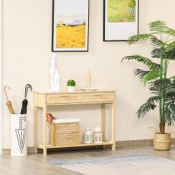 HOMCOM Mesa de console em malha Mesa de entrada com 2 gavetas e prateleira inferior para o corredor Quarto sala de estar 100x30x76 cm Natural
