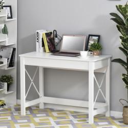 HOMCOM Mesa de escritório multifuncional moderna e minimalista 105x50x76 cm Branco