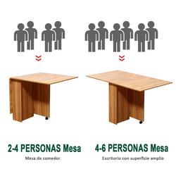 HomCom Mesa Sala de Jantar Dobrável com Rodas Mesa Auxiliar 3 Formas Madeira