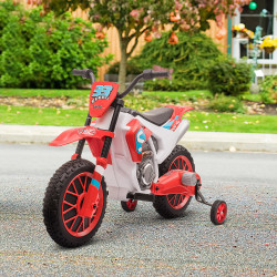 HOMCOM Mota Elétrica para Crianças acima de 3 Anos 12V Mota de Brinquedo Infantil com 2 Rodas de Equilíbrio Velocidade Máx. 8km/h Arranque Suave 106,5x51,5x68cm Vermelho