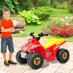 HomCom Moto-quatro Infantil com bateria, tipo Carro Elétrico- Vermelho Amarelo e Preto - Polipropileno - 65 x 43 x 43 cm