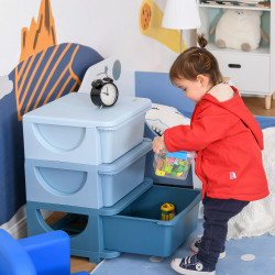 HOMCOM Organizador de Brinquedos Infantil para crianças acima de 3 anos com 3 Gavetas e Alças amplo espaço de armazenamento para Roupas Livros brinquedos 37x37x56,5 cm Azul