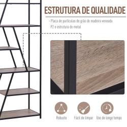 HOMCOM Prateleira de armazenamento decorativo moderno de metal 80x33x180cm preto e madeira