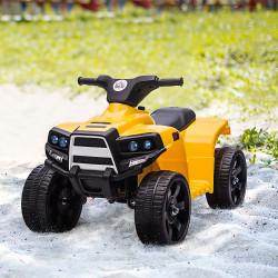 HOMCOM Quadriciclo Elétrico para Crianças acima de 18 Meses Bateria 6V Faróis Buzina Velocidade -3km/h Avanço e Recuo 65x40x43cm Amarelo