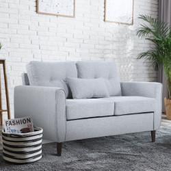 HOMCOM Sofá de 2 lugares Poltrona de dois lugares para sala de estar com almofadas e assento acolchoado fronha lavável 140x78x83 cm cinza claro