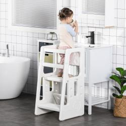 HOMCOM Torre de Aprendizagem para Crianças com Altura Ajustável em 3 Posições e Plataforma Antiderrapante para Cozinha Sala de Jantar Casa de Banho 47x47x90cm Branco
