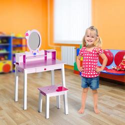 HomCom Toucador Infantil com Banco e Espelho tipo Princesa Mesa-de-Maquilhagem-de-Madeira -Cor-de-Rosa- 59 x 39 x 92 cm