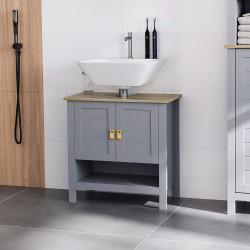 Kleankin Armário compacto para sob a pia com 2 portas e prateleira interna ajustável Gabinete auxiliar para banheiro 60x30x60 cm Cinza