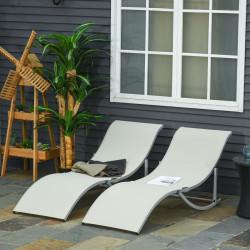 Outsunny 2 espreguiçadeiras ergonômicas dobráveis em forma de S com estrutura de alumínio Textilene para jardim e varanda 165x61x63 cm Bege