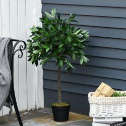 Outsunny 2 plantas artificiais de 90 cm de altura árvore de Laurel com vaso para sala de estar exterior Verde