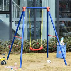 Outsunny Balanço de metal para crianças acima de 6 anos com assento de corda ajustável 4 âncoras externas máx. 40 kg 155x160x180cm Multicolor