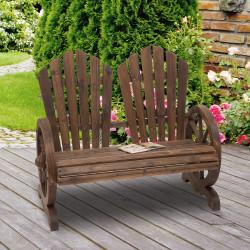 Outsunny Banco de jardim de madeira de 2 lugares com apoio de braços em forma de roda para varanda 108x66x95 cm marrom rústico