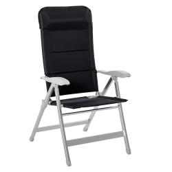 Outsunny Cadeira de jardim dobrável de alumínio com encosto alto ajustável de 7 posições e encosto de cabeça acolchoado 75x61,5x114,5 cm Preto