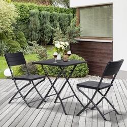 Outsunny Conjunto de móveis de jardim 3 peças de mesa e cadeiras dobráveis para exterior