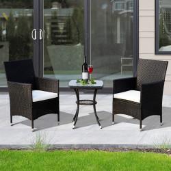 Outsunny Conjunto de móveis de vime ao ar livre 1 Tabela 2 Cadeiras Estrutura Metálica Preta